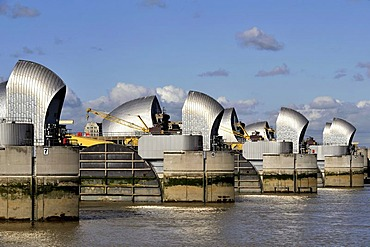 The Thames Flood Barrier, designed to help keep London from flooding during high storm tides, United Kingdom, Europe
