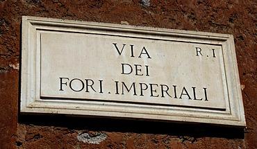 Road sign, Via Dei Fori Imperiali Street, Rome, Italy, Europe