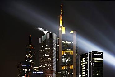 Skyline of Frankfurt at night during the Luminale in Frankfurt, Hesse, Germany, Europe