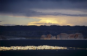 Boats on Lake Powell before a storm, Utah, USA