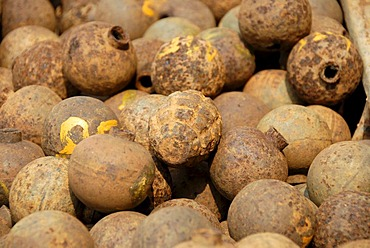"Collection of old rusty American bombs, ""Bombies"", dropped on Laos during the 2nd Indochina war by the US Airforce, Vietnam war, Phonsavan, Xieng Khuang Province, Laos, South East Asia"