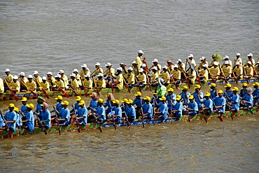 Big rowing boats, rowers, competition, water festival, Phnom Penh, Cambodia, Southeast Asia