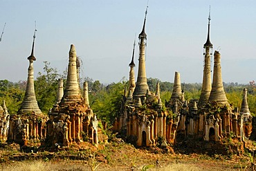 Cluster of old stupas decaying artistically, Indein, Inle Lake, Shan State, Burma, Myanmar, Southeast Asia