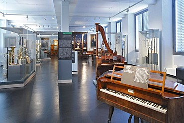 Romantic musical instruments in the Museum of Musical Instruments in the University of Leipzig, Leipzig music trail, Leipzig, Saxony, Germany, Europe