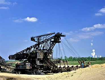 Open-cut mining near Zwenkau, stripping shovel, cooling towers of the Lippendorf Power Station near Leipzig, Saxony, Germany, Europe