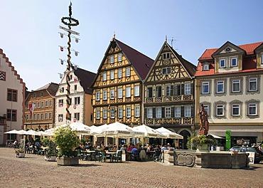 Marktplatz Square, Bad Mergentheim an der Tauber, Baden-Wuerttemberg, Germany, Europe