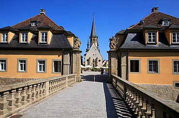 View from the gatehouse of the castle towards the town Church of St. George and the market square in Weikersheim, Baden-Wuerttemberg, Germany, Europe