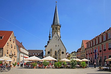 Town Church of St. George and the market square in Weikersheim, Baden-Wuerttemberg, Germany, Europe