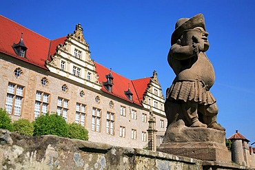 Gnome statue in front of Weikersheim Castle, Baden-Wuerttemberg, Germany, Europe
