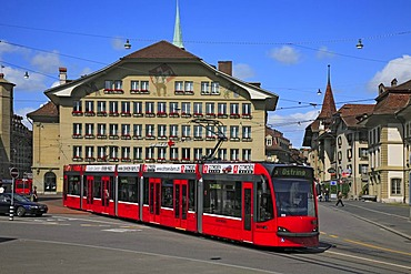 Tram in the historic city centre of Berne, Switzerland, Europe