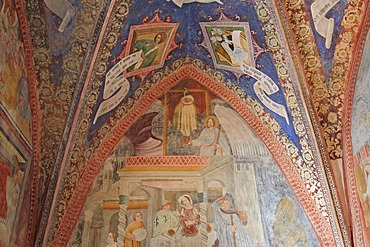 Romanesque fresco depicting the legend of the hanged youth, Saint Jacob in Kastelaz, Tramin, South Tirol, Italy, Europe