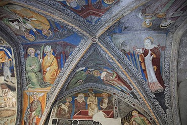 Frescoes in the cloister at the Brixen Cathedral, Brixen, South Tyrol, Italy, Europe