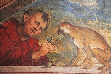 Fresco in the Romanino Loggia of Castello del Buonconsiglio, Trento, Trentino, Alto Adige, Italy, Europe