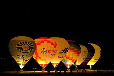 Hot-air balloons in Tannheim Valley, Ausserfern, Tyrol, Austria, Europe