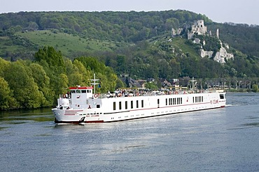 View of Les Andelys and Chateau Gaillard, Seine River, MS CEZANNE ship, Normandy, France, Europe