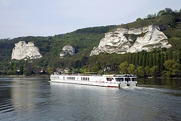 View of the chalk cliffs of Les Andelys, Seine River, MS CEZANNE ship, Normandy, France, Europe