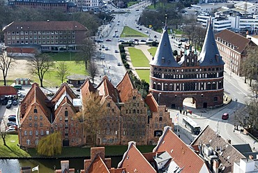Bird's eye view of the old salt storehouse and the Holstentor Gate in Luebeck, Schleswig-Holstein, Germany, Europe