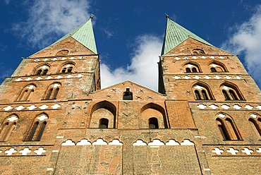 Worm's eye view of the Marienkirche Church facade in Luebeck, Schleswig-Holstein, Germany, Europe