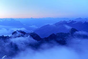 Daybreak above the Alpstein Range viewed from the Saentis, Appenzell, Switzerland, Europe