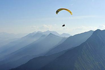 Paraglider in the Bernese Oberland, Niesen, Switzerland, Europe