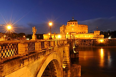 Ponte Sant'Angelo at night, Castel Sant'Angelo in the back, Rome, Italy, Europe