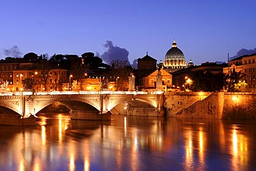 View from Ponte Sant'Angelo of St. Peter's Basilica in evening light, Rome, Italy, Europe