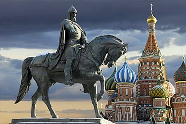 Monument of Yuri Dolgoruki in front of St. Basil cathedral, Moscow, Russia