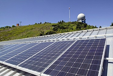 Photovoltaic system on the roof of the mountain station of the Arber Mountain Railway at Mount Grosser Arber near Bayerisch Eisenstein in the Bavarian Forest, Bavaria, Germany, Europe