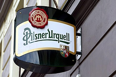 Logo of the brewery Pilsner Urquell in Pilsen, Plzen, Bohemia, Czech Republic, Europe.