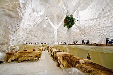 Inner view of an igloo restaurant, Rovaniemi, Lapland, Finland, Europe