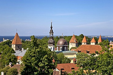 View from the limestone hill of Tompea in the centre of Tallinn, Estonia, Baltic States, North Europe
