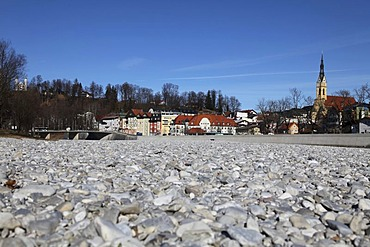 Isar River, river bed, historic centre with the Maria Himmelfahrt parish church, Bad Toelz, Bavaria, Germany