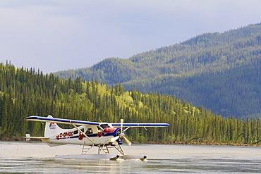 Taxiing, legendary de Havilland Canada DHC-2 Beaver, float plane, bush plane, Yukon River, Teslin River, Hootalinqua, Yukon Territory, Canada, North America