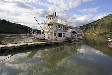 Historic paddle wheel steamer S.S. Klondike Spirit, on the Yukon River, Dawson City, Yukon Territory, Canada, North America