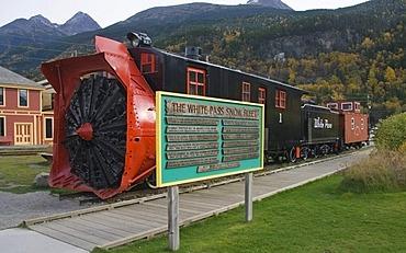 Historic engine with snow plow, snow fleet, White Pass & Yukon Route, Skagway, Klondike Gold Rush, Alaska, USA, North America