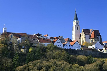 View of the core city of Nabburg in the Upper Palatinate, Bavaria, Germany, Europe