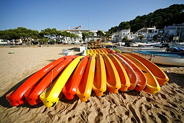 Sport boats, hire boats on Tamariu beach, Costa Brava, Catalonia, Spain, Europe