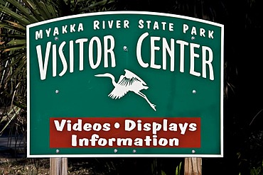 Information board, Visitor Center, in Myakka River State Park, Sarasota, Florida, USA