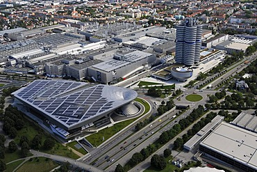 View of the factory, the BMW-World Museum and the BMW headquarters in Munich, Bavaria, Germany, Europe