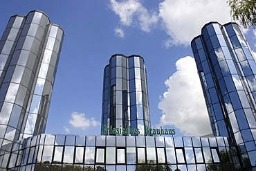Building of the brewery in Jever, glazed brew towers, front view, Jever, Lower Saxony, Germany