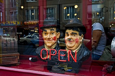 Bust of Laurel and Hardy in the window of a bar at the Hackesche Hoefe yards, Berlin, Germany, Europe