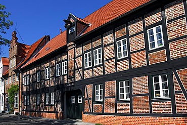 Historic Rossmuehle or Horses Mill, An der Obertrave, historic city centre of Luebeck, UNESCO World Cultural Heritage Site, hanseatic city of Luebeck, Schleswig-Holstein, Germany, Europe