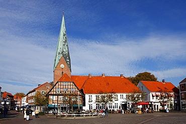 Historic market place and St. Michaelis Church in Eutin, Ostholstein district, Holsteinische Schweiz, Schleswig-Holstein, Germany, Europe