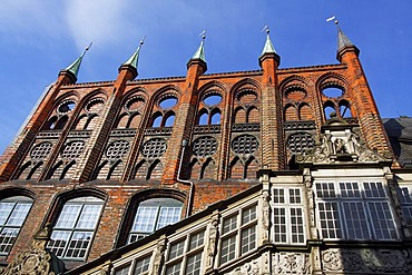 Historic Town Hall of Luebeck, eastern facade, UNESCO World Cultural Heritage Site of Luebeck Historic City Centre, Schleswig-Holstein, Germany, Europe