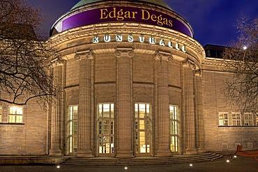 Illuminated building of the art museum Hamburger Kunsthalle at night, Edgar Degas exhibition, Hamburg, Germany, Europe