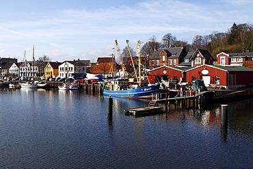 Boats in the harbour, Baltic Sea seaside resort town of Eckernfoerde, Rendsburg-Eckernfoerde district, Schleswig-Holstein, Germany, Europe