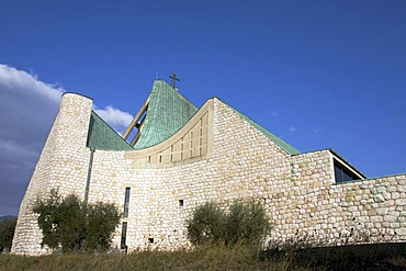 """Church on the freeway, """"Chiesa sull'autostrada"""", San Giovanni Battista, built between 1960-1963, by architect Giovanni Michelucci, Florence, Toscany, Italy, Europe"""