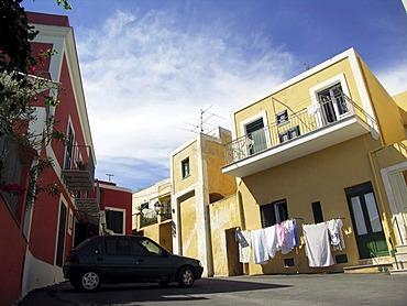Colorful houses in Ventotene, island in italy, mediterranean sea, campania, lazio, Italy, EU