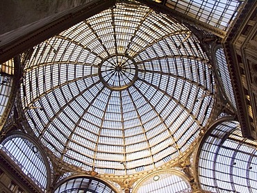 Glass roof of the Umberto Gallery, Naples, Campania, Italy, Europe
