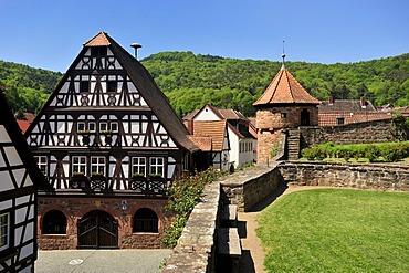 Half timbered town hall and fortified cemetery, Doerrenbach, Naturpark Pfaelzerwald Nature Park, Rhineland-Palatinate, Germany, Europe